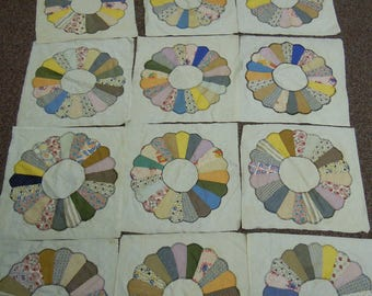 """Vintage Dresden Plate blocks 1940's hand applique 14 complete and 6 additional plates  17.0"""" x 17.5"""""""