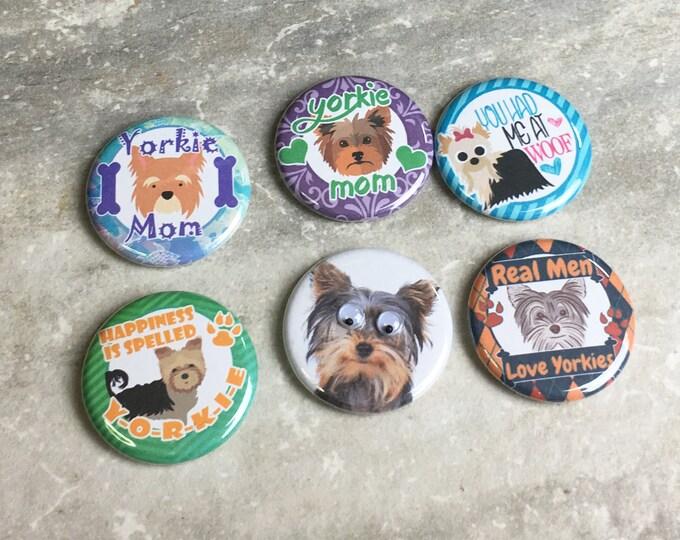 Dog Magnets - Yorkie Mom - Set of 6 - Refrigerator Magnets - Office Decor