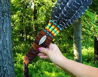 Smudge Fan - Powwow Fan - Dance Fan - Turkey Feathers - Buckskin - Beadwork - Authentic Native American
