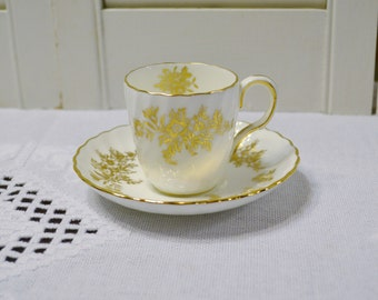 Vintage Minton Marlow Gold Demitasse Cup and Saucer Gold Flowers H5017 England Replacement PanchosPorch