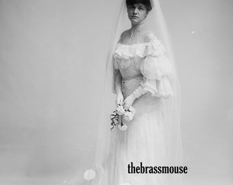 Vintage Edwardian Bride in Long White Dress Veil Black and White Photo Instant Digital Download for Altered Art Scrapbooking Wedding Gift