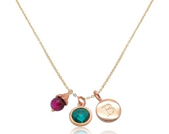 Teal green crystal gem rose gold jewelry, Christmas gifts for girlfriend, Rose gold monogram necklace, Birthaday Valentines gifts for her