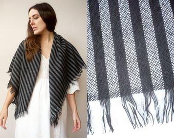 1980's Vintage Massive Black & White Stripe Woven Scarf