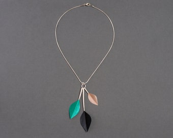 Statement Minimal Leaf Shape Feather Necklace in Emerald Green, Satin Beige & Jet Black on Silver Chain