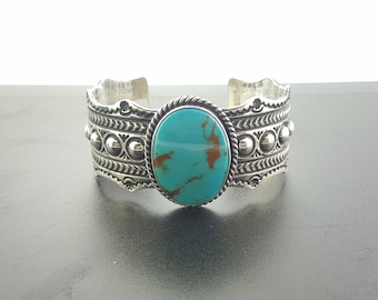 Navajo Natural Royston turquoise cuff bracelet-sterling silver