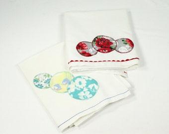 Vintage Towel Pair - Jadeite Green and Ruby Red Feedsack Polka Dot Appliqué - Flour Sack Cotton Kitchen Dish Towel Set