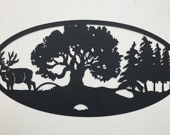 Oval Deer Scene Metal Sign