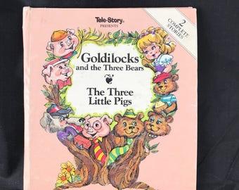 1988 Tele-Story Goldilocks and the Three Bears/ The Three Little Pigs. 2 Story Book. HTF/Rare