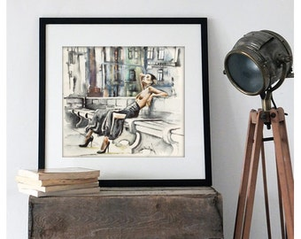 Watercolor Print - Taste of smoke. Art print of topless female on a bench.