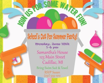 Kids Party Invitation, Kids Summer Party Invitation, Kids Party Printables