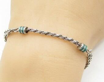 925 sterling silver - vintage enamel twisted rope rolo chain bracelet - b1306