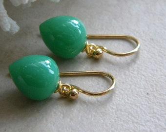 Green Earrings, Dark Green, Chalcedony Earrings, Gift for Her, Inverted Acorn Drops, Womens Jewelry, Gold Vermeil, KarenWolfeCreations