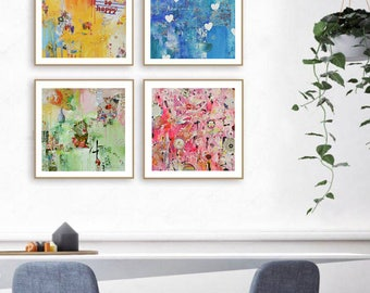 4 art prints, So happy, Chinese garden, Just believe, New soul, Abstract art, floral, Chinese contemporary art,rose, blue, green