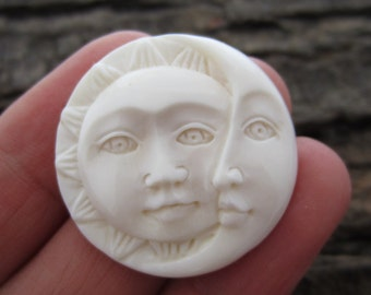Sale 15% 30 mm HAnd carved Sun Face  and Crescent Moon Cabochon, Face Cabochon, Embellishment  B3642