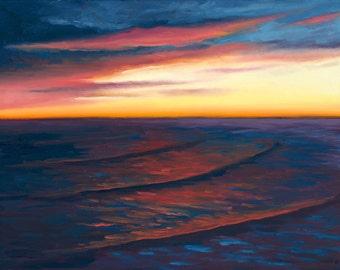 GICLEE Fine Art Reproduction on 8.5x11 PAPER - Stoney's Beach (twilight, sunset)