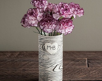 Personalized Faux Bois Porcelain Vase - Made To Order