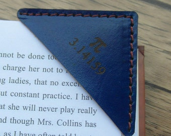 Blue Leather Bookmark, Personalized Bookmark, Leather Book Corner, Booklover gift