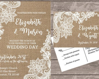 Lace and burlap rustic wedding invitation, lace shabby chic wedding invitations, burlap wedding stationery, budget wedding invitations