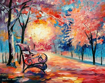 0il Paintings Landscape Pink Wall Art On Canvas By Leonid Afremov - Frozen Park