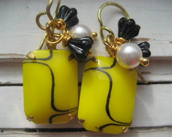Ibiza dangle earrings, pearl, yellow cabs, black flowers, Artisan 14k gold ear wires,