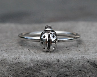 Ladybug Stacking Ring, Sterling Silver Stackable Ring, Good Luck Lady Bug Stack Ring Jewelry, Single Minimalist Midi Lucky Bug Stacking Ring
