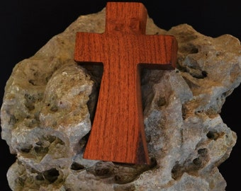 "Wooden Wall Cross; 3""x5""x1""; Small Wood Cross; Wall Cross Decor; Crooked Cross; Mesquite; Handmade;  Free Ground Shipping cc5-103052018"