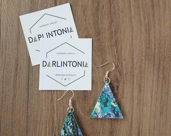 Gerométricos earrings, triangle earrings, wood earrings, geometric jewellery, stamped earrings, blue, violet, green