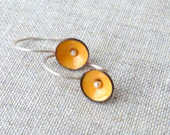 tiny poppy earrings torch fired  vitreous enamel sterling silver yellow round matte silver