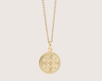Re-Purposed Louis Vuitton Necklace Gold Engraved Monogram Round Pendant