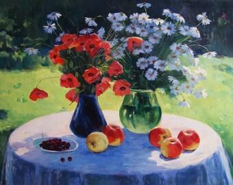 Kitchen Art Original Oil Painting on canvas original Art flower painting kitchen wall decor Kitchen art Kitchen decor- Flowers on the table