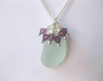 Birthstone Sea glass Pendant -Birthstone jewelery Seaglass Jewelry Seaglass Pendant Beach Glass Jewelry Handmade, Custom Jewelry