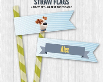 The Secret Life of Pets Straw Flags