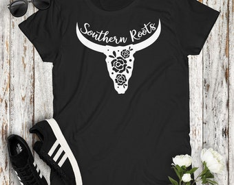 Southern Roots Country Women's Tshirt Cowgirl Concert Party Top Mudding Campfire Southern Girl Deer Steer Antlers