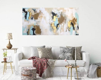 Original Abstract Art, Dark Blue Painting,Modern Canvas Art Gold , Large  White Contemporary Art , Living Room Wall Art, 24x48 Canvas Art
