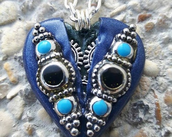 Blue polymer clay steampunk Heart Necklace.