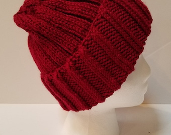 Dark Red Brimmed Beanie