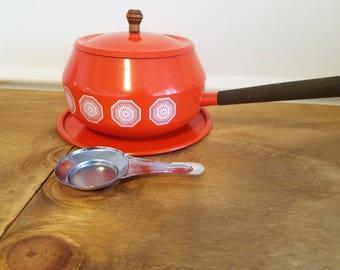 Vintage Orange Fondue Pot