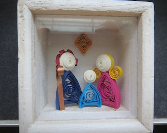 Beautiful Handmade quilling nativity scene in quilling, miniature with own wood box that can be left open or closed!