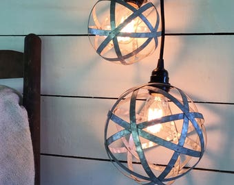 Sphere Farmhouse Industrial Plugin Pendant Light with Edison Bulb, 15' Cord