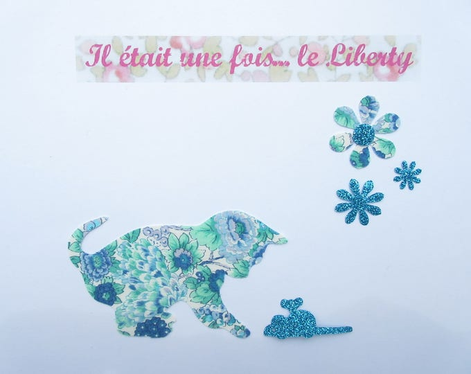 Applied fusing cat and mouse Elysean liberty blue sequin glitter flex fusible patch iron on applique cat pattern