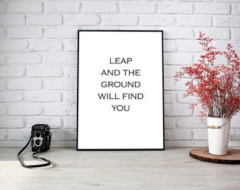Leap and the ground will find you, Home Decor, Wall Print, Leap, Faith