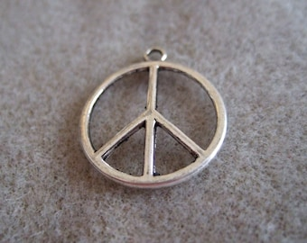Peace Sign Charms- set of 20- Silver Tone