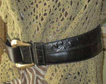 Vintage 90's Wide Black Leather Hipster Belt, Size 90/ 36 , Conte Andreani, Italy