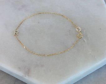 14k yellow gold tiny letter bracelet * 14k yellow gold initial bracelet * asymmetrical letter bracelet * initial bracelet * chain letter