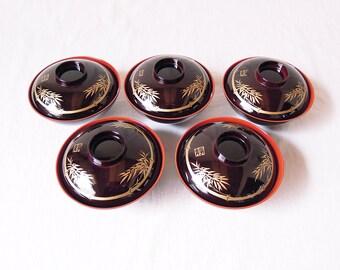 1980s Japanese vintage soup bowls Set of 5