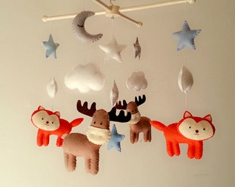 "Baby crib mobile, felt mobile ""Good Night"" - Moose, Fox, Moon, Stars"