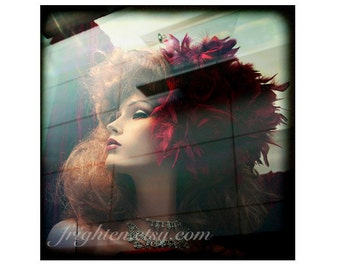 Mannequin Art Print, Red Hair, Window Display, Feather Flower, Girlie Decor, Photography Print, Bedroom Decor, frighten
