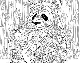 panda bear 2 coloring pages animal coloring book pages for adults instant download print