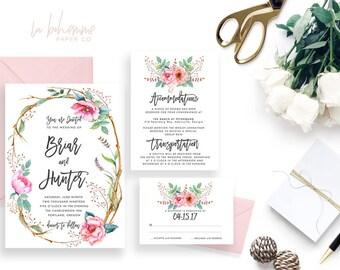 Printable Wedding Invitation Suite / Wedding Invite Set - The Briar Suite