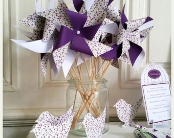 Set of 10 pinwheels two-tone printed floral - plum / purple - the moment C